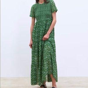 Zara Green Print Dress - Size Small